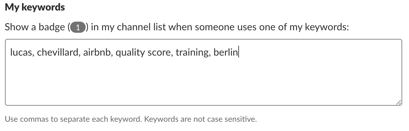 Slack keywords feature