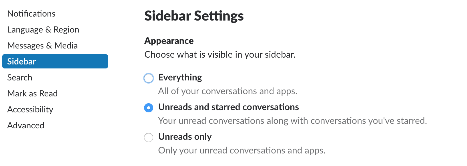Unreads and starred conversation sidebar settings in Slack