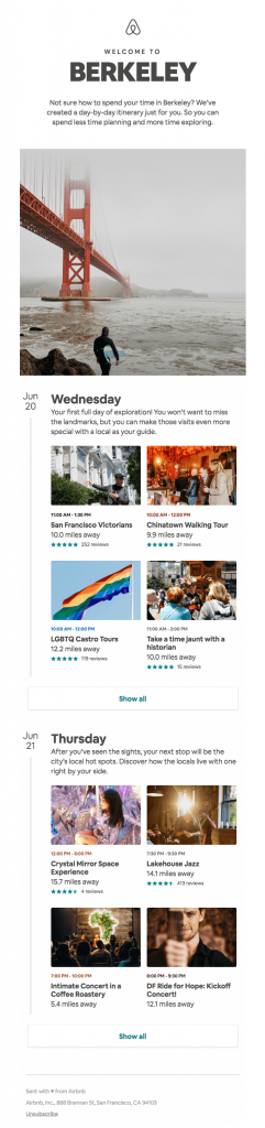 email marketing engagement airbnb